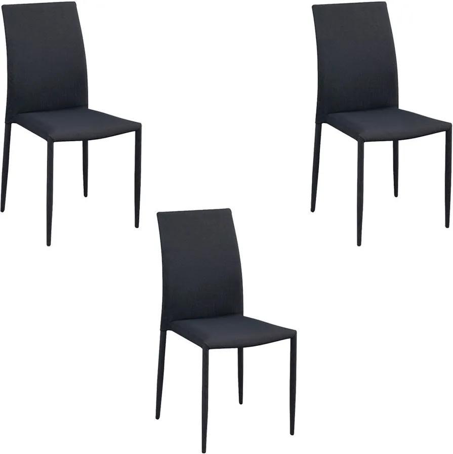 Kit 3 Cadeiras Decorativas Sala e Cozinha Karma Poliéster Cinza com Preto - Gran Belo