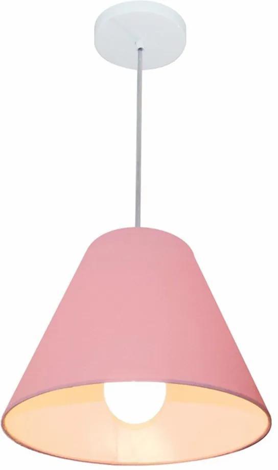 Lustre Pendente Cone Md-4028 Cúpula em Tecido 25/30x12cm Rosa Bebê - Bivolt