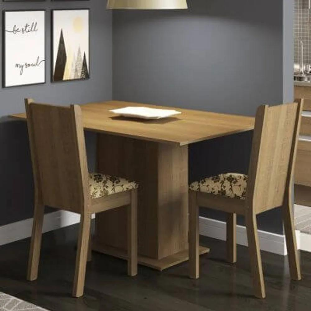 Conjunto Sala de Jantar Madesa Mel Mesa Tampo de Madeira com 2 Cadeiras Rustic/Bege Marrom Cor:Rustic/Bege Marrom