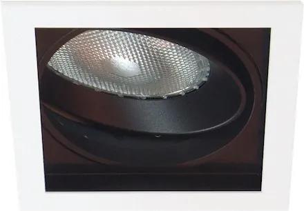 Plafon Embutir Alumínio Preto Branco Par30 E27 Quadra