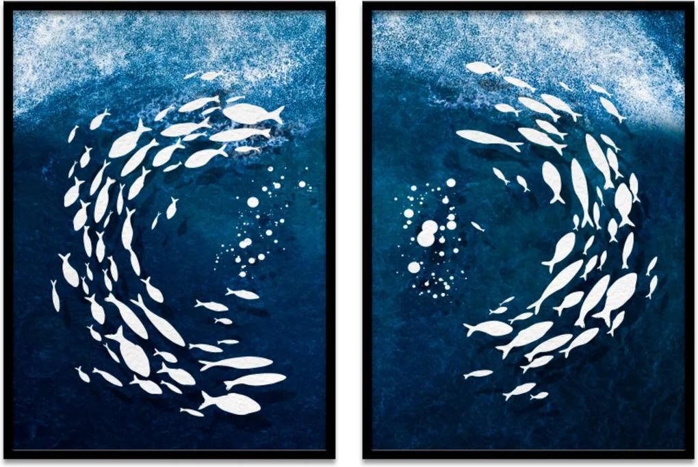 Quadro 67x100cm Urak OH9 Peixes Brancos Decorativo Moldura Preta com vidro