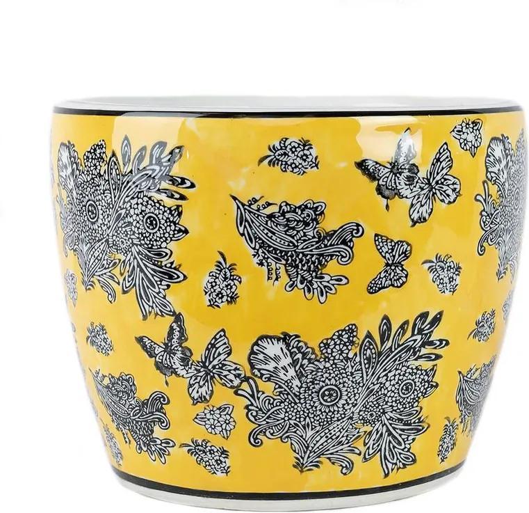 Cachepot em Porcelana Amarelo Borboleta D21cm x A18cm