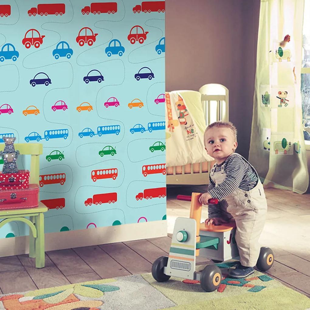 Papel de parede adesivo infantil azul com carros