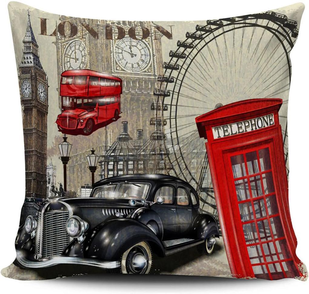 Almofada Londres Vintage 42x42cm com enchimento