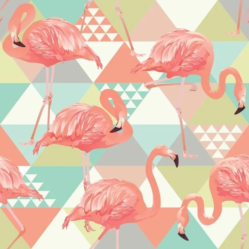 Papel De Parede Adesivo Flamingos E Triângulos (0,58m x 2,50m)
