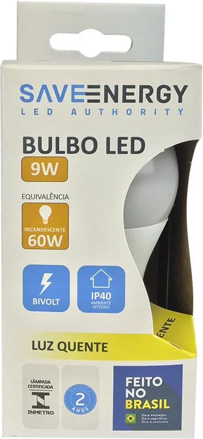 Lâmpada de Led Bulbo E27 A60 9W 3000K - Save Energy - Bivolt