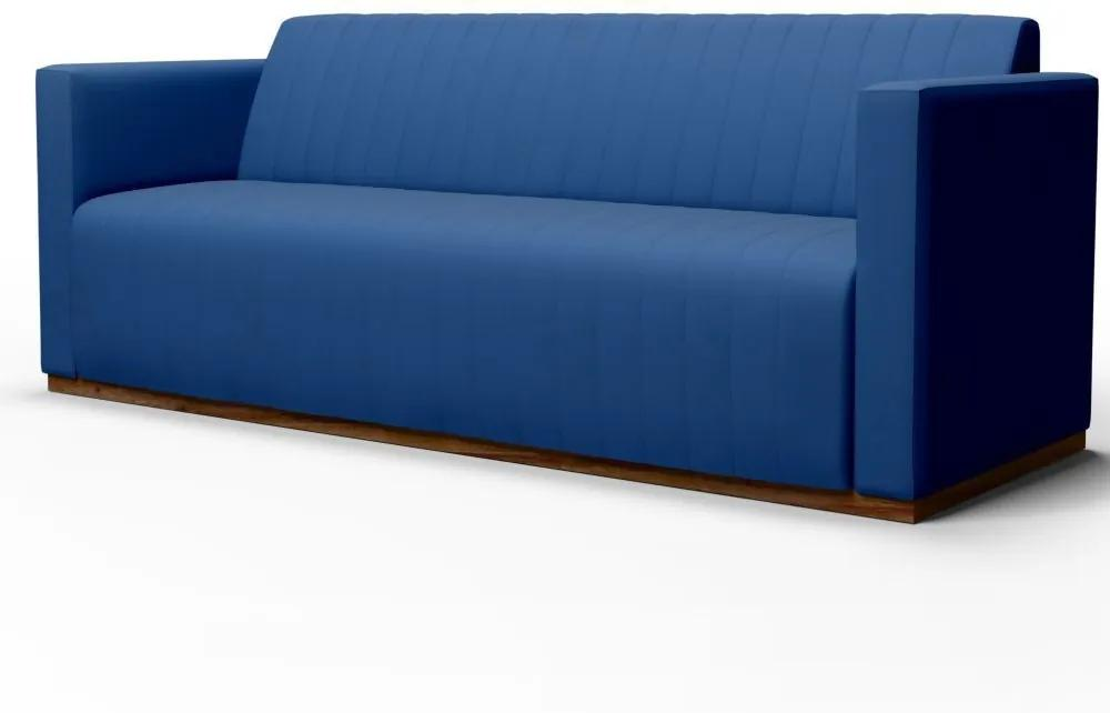 Sofá 3 Lugares Sala de Estar Hórus 230 cm Veludo Azul - Gran Belo
