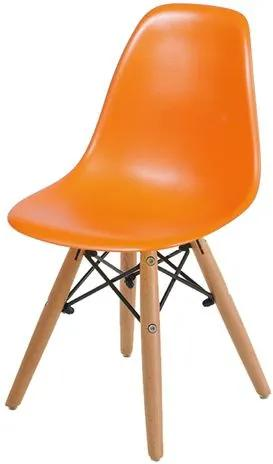 Cadeira INFANTIL Eames Polipropileno Laranja com Base Madeira - 40607 Sun House
