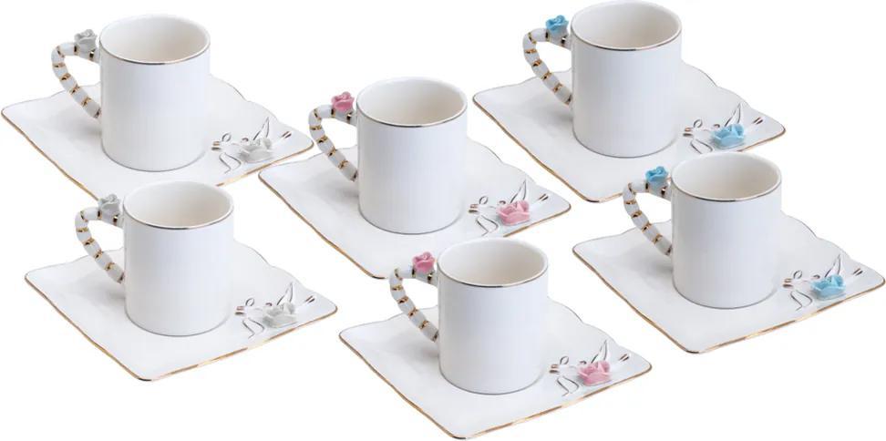 Conjunto de 6 Xícaras de Porcelana Wolff Para Café Flower Square 80ml - Plate Colorido