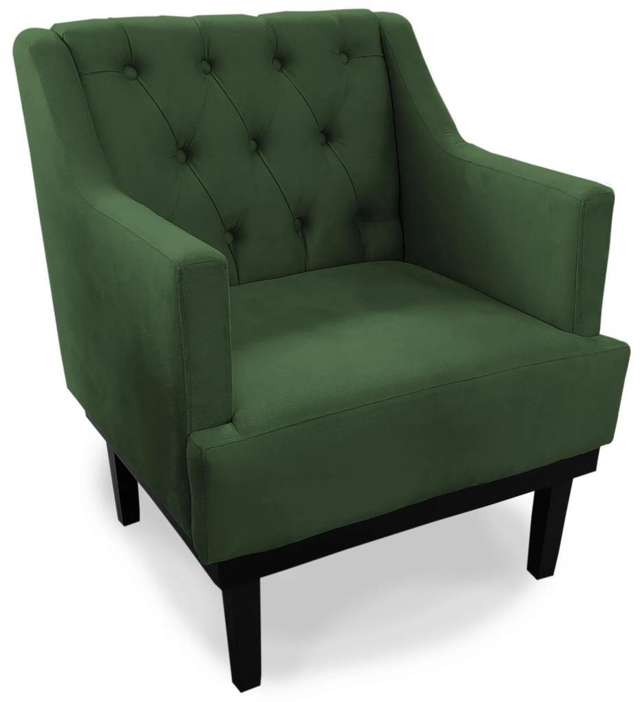 Poltrona Decorativa Clássica Capitonê Pés Madeira Suede Verde - Sheep Estofados - Verde escuro
