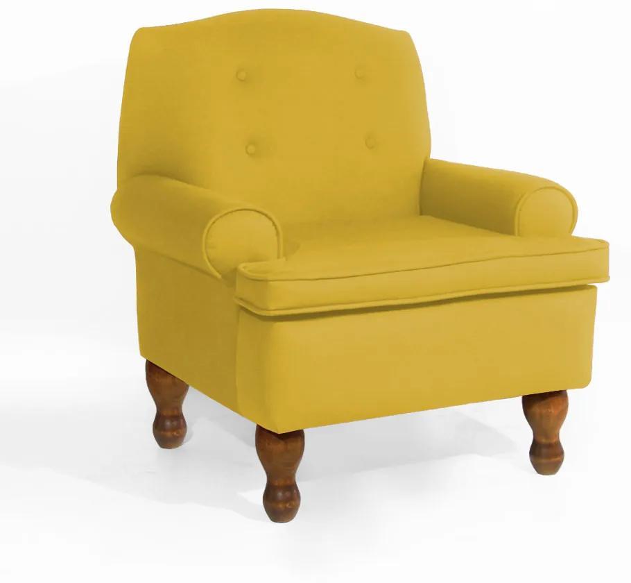 Poltrona da Vovó Lucy Decorativa Luxo Suede Amarelo