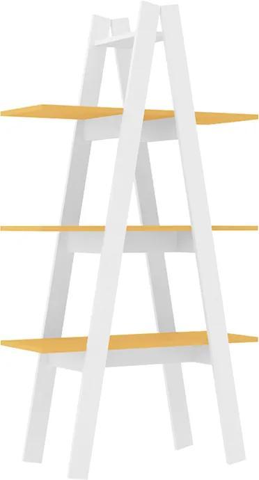 Estante Poppy C/ 3 Prateleiras Branco / Amarelo
