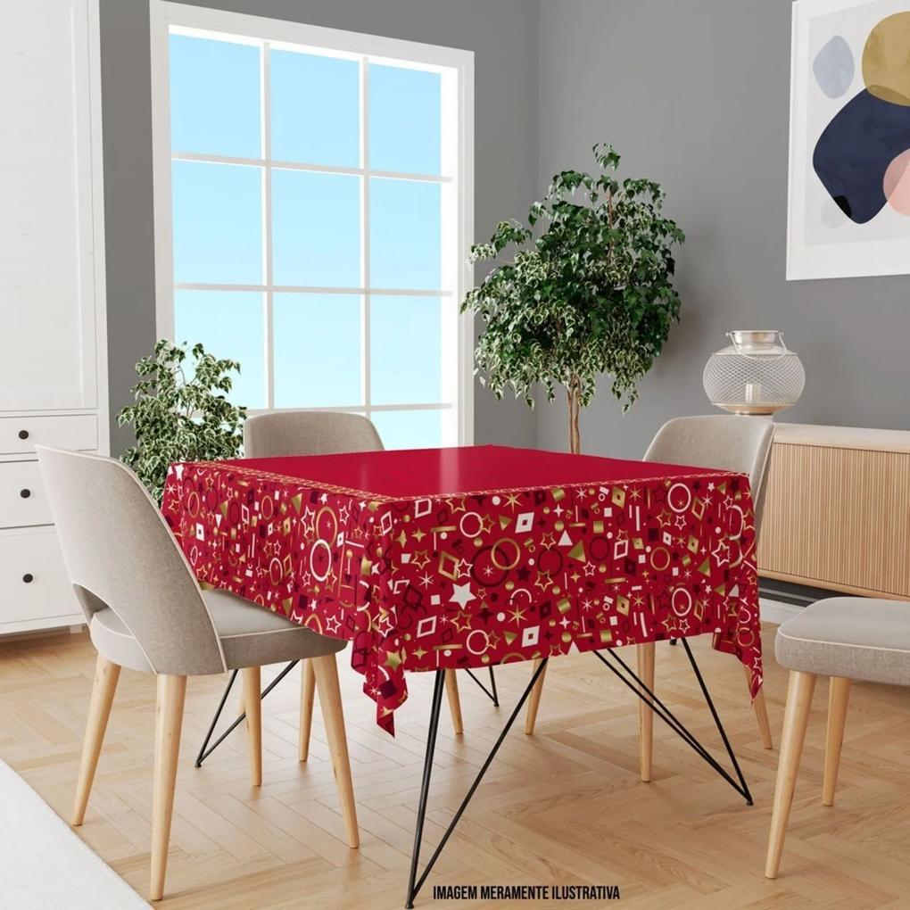 Toalha de Mesa Quadrada Para 4 Lugares Elementos Natalinos Vermelho 1.45m x 1.45m Único