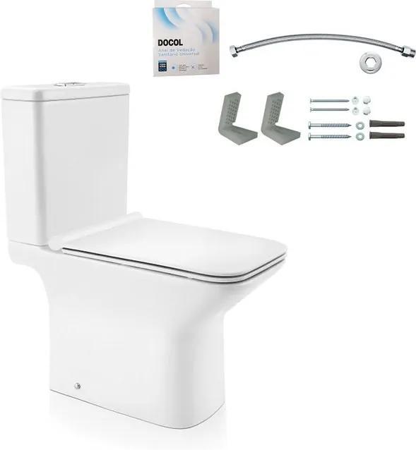 Kit Bacia com Caixa Acoplada e Assento Stillo Branco + Conjunto de Fixação Flexível e Anel de Vedação - 969866 - Docol - Docol