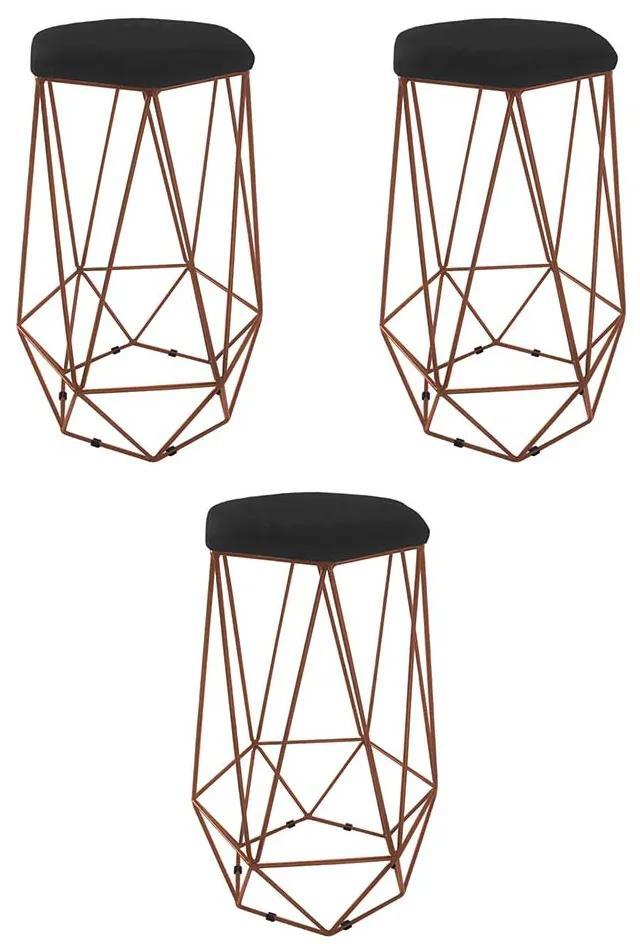 Kit 3 Banquetas Aramado Eiffel Hexágono Bronze Assento Courino Preto