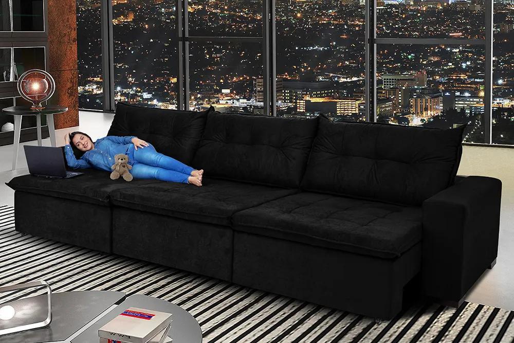 Sofá Austrália 4,12m Retrátil, Reclinável, Molas E Pillow No Assento Tecido Suede Preto Cama Inbox