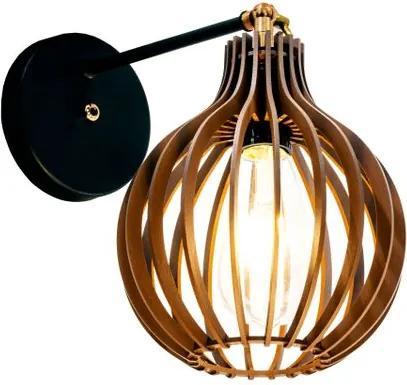 Arandela de madeira interna | 21x18cm | Soq: E-27 | Chocolate | Mod: Bali