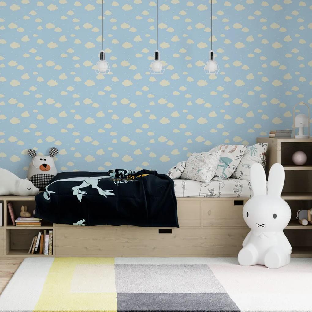 Papel de parede adesivo infantil nuvens fundo azul