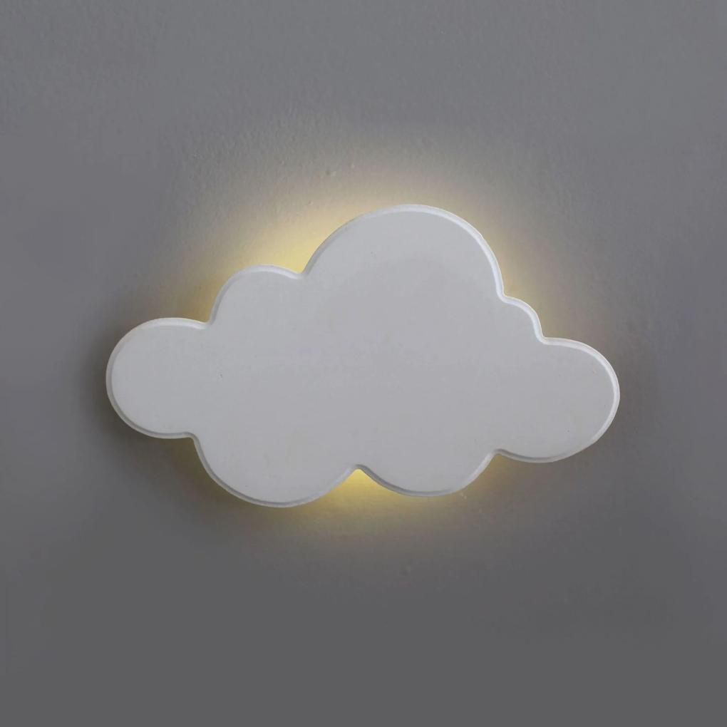 Nuvem Luminária MDF Branca Pequena com LED com Luz Quente