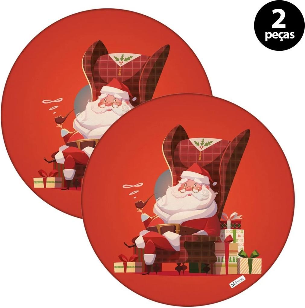 Sousplat Mdecore Natal Feliz Natal 32x32cm Vermelho 2pçs