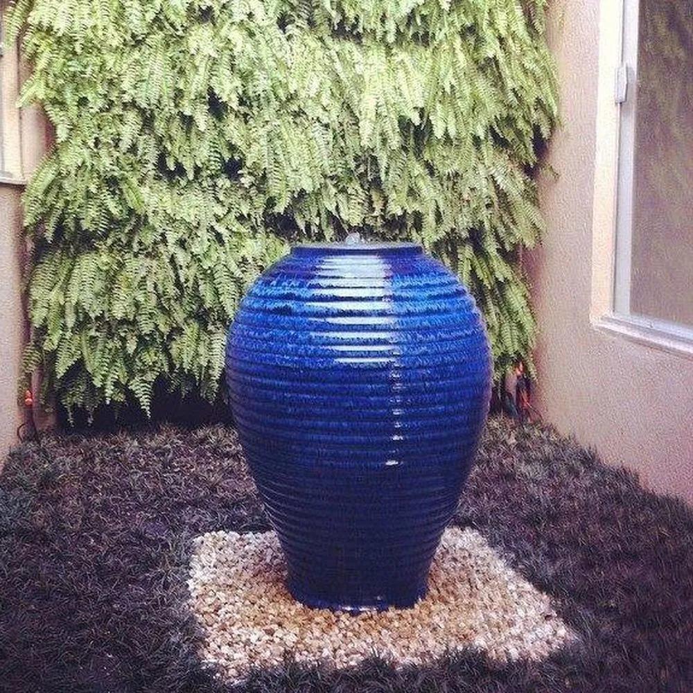 Vaso para Fonte Vietnamita Cerâmica Importado Grande Azul D64cm x A86cm