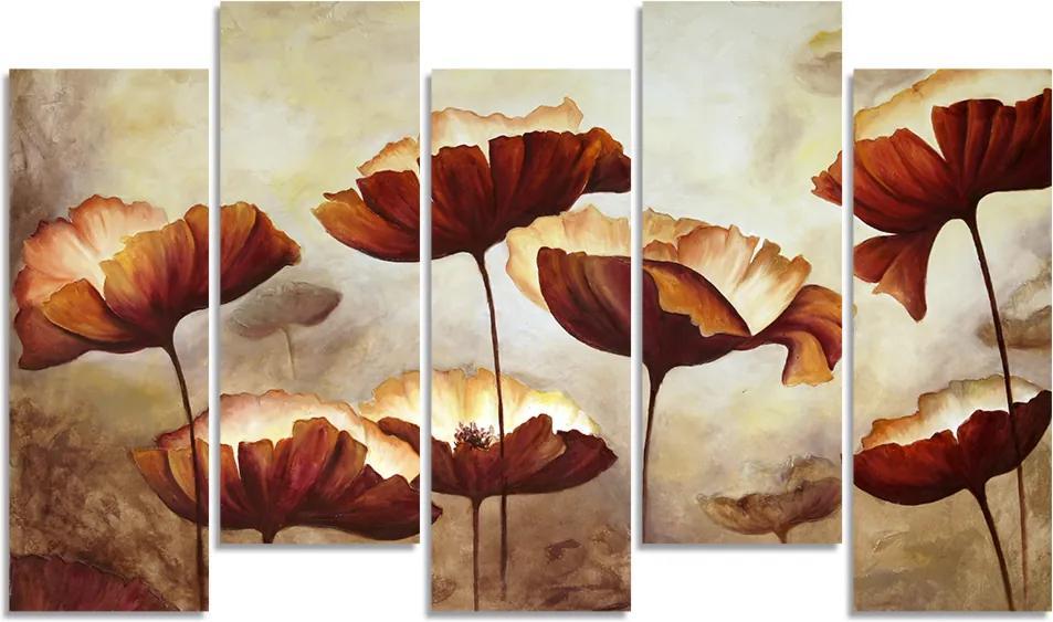 Quadro Decorativo Para Sala Quarto Flor Abstrato Bege