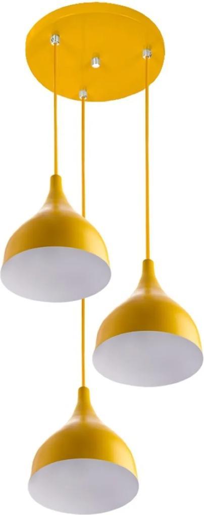 Lustre Pendente Aluminio Gota Triplo 21cm Amarelo