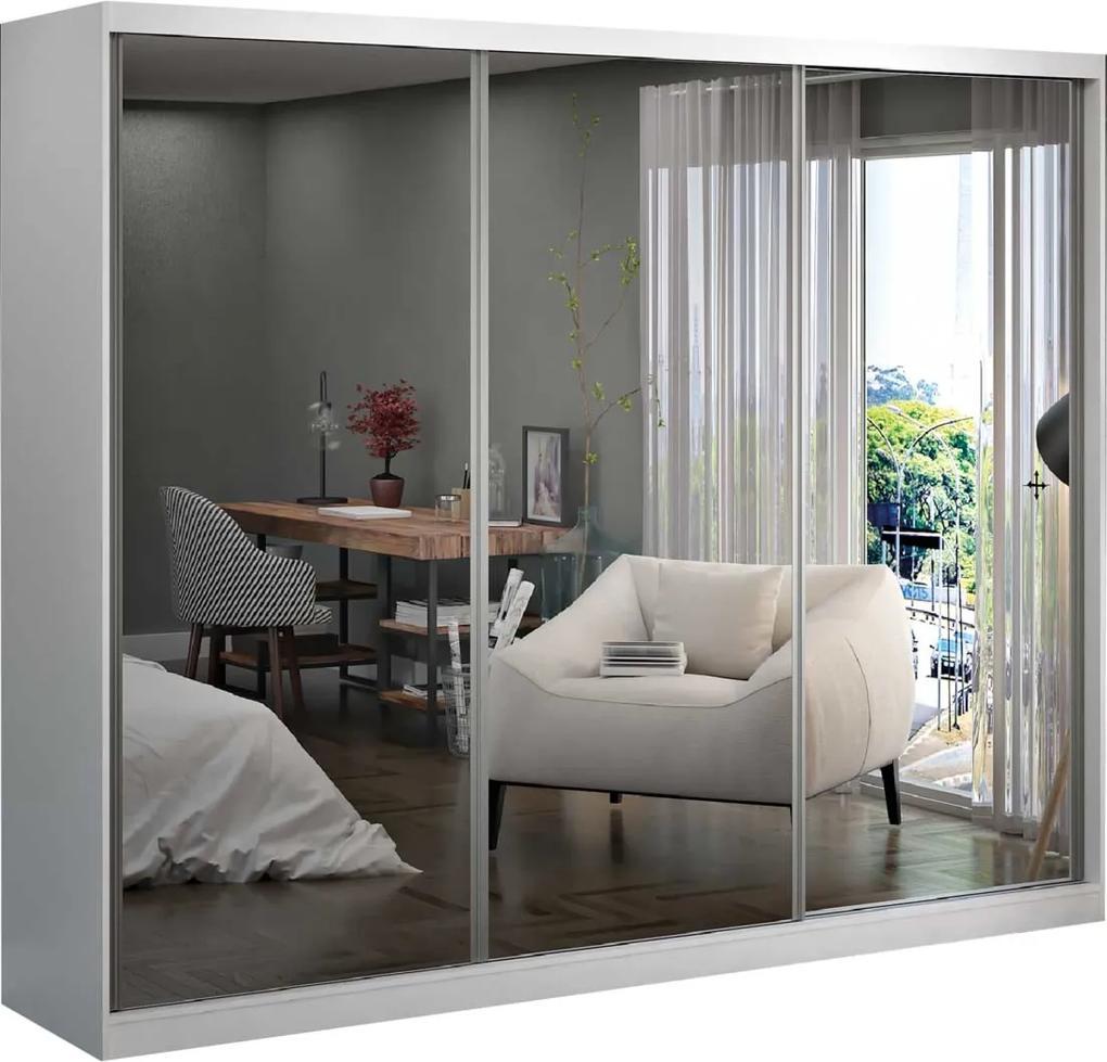 Guarda-Roupa Casal 3 Portas De Correr 3 Espelhos Branco M Foscarini
