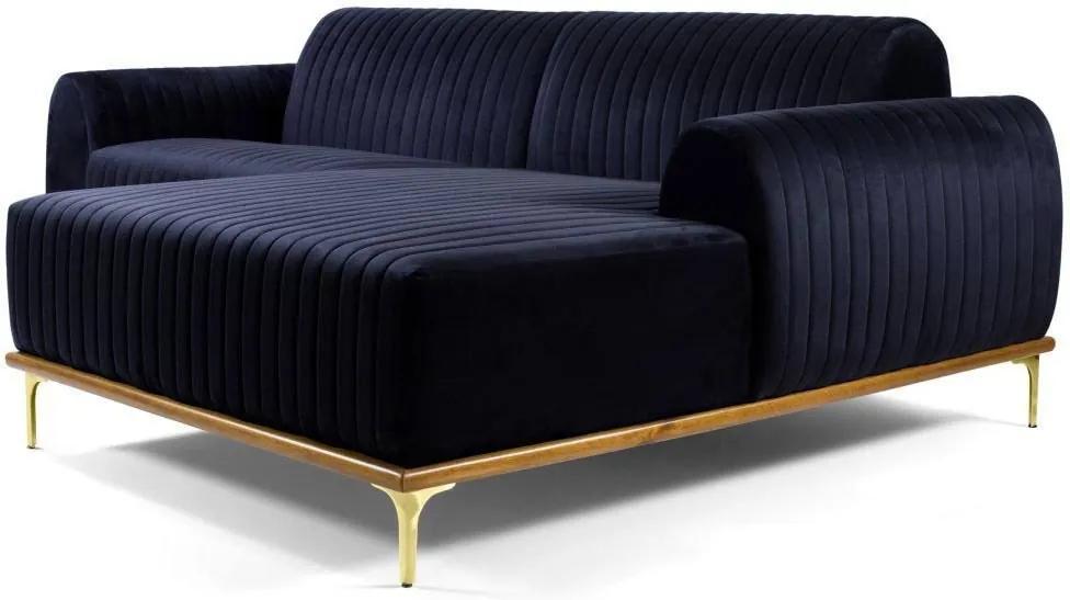 Sofá 4 Lugares com Chaise Base de Madeira Euro 265 cm Veludo Azul - Gran Belo