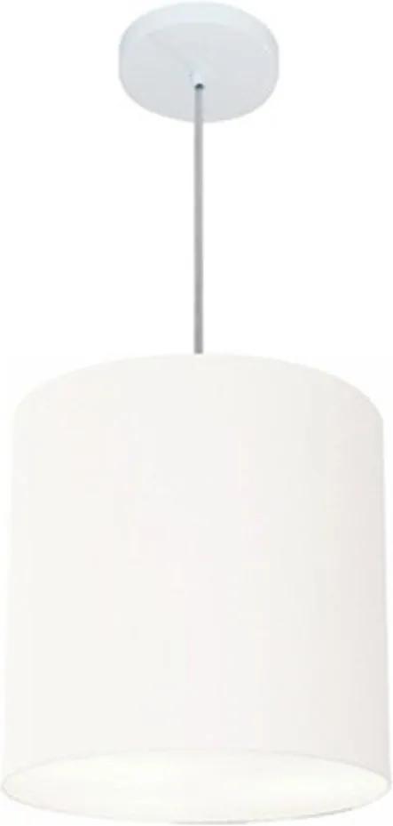 Lustre Pendente Cilíndrico Md-4036 Cúpula em Tecido 30x31cm Branco - Bivolt