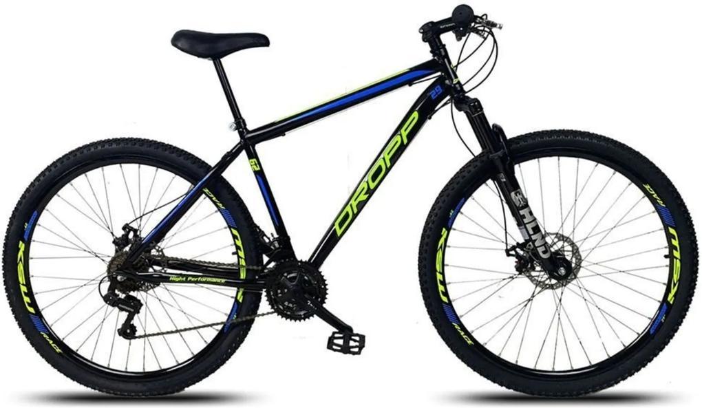 Bicicleta Aro 29 Freio Disco Mecânico Quadro 17 Aço 21 Marchas Suspensão Preto Amarelo Azul - Dropp