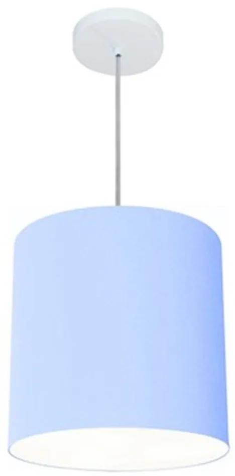 Lustre Pendente Cilíndrico Vivare Md-4036 Cúpula em Tecido 30x31cm - Bivolt - Azul Bebê - 110V/220V (Bivolt)