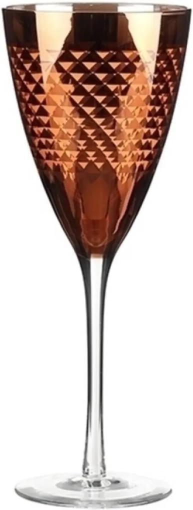 Jogo Taças Vinho Tinto Em Vidro Lapidado Vermelho160Ml 6 Pçs