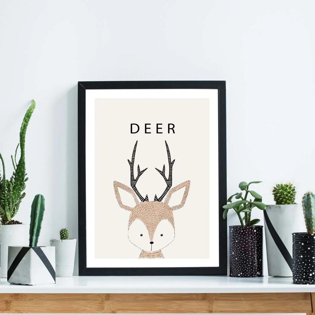 Quadro Decorativo Infantil Babe Deer Preto - 20x30cm