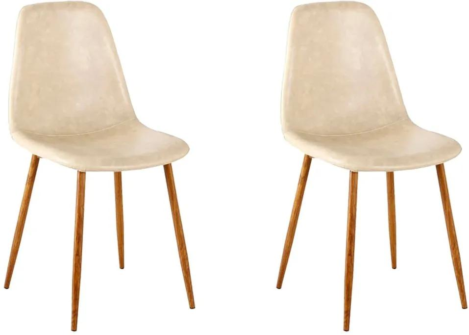 Kit 2 Cadeira Decorativa Sala e Escritorio Base Nogueira Emotion PU Bege - Gran Belo