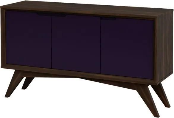Buffet Serafim 3 Portas Envelhecido e Roxo - Wood Prime MP 27642