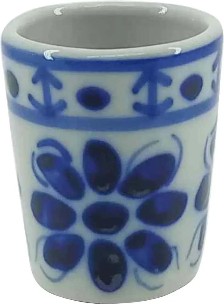 Copo Shot de Porcelana Azul Colonial 50 ml