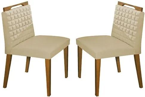 Kit 2 Cadeiras de Jantar Estofada Bege em Veludo Birlik