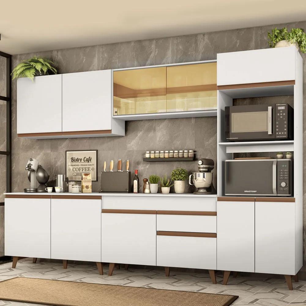 Cozinha Completa Madesa Reims 310001 com Armário e Balcão Branco Cor:Branco