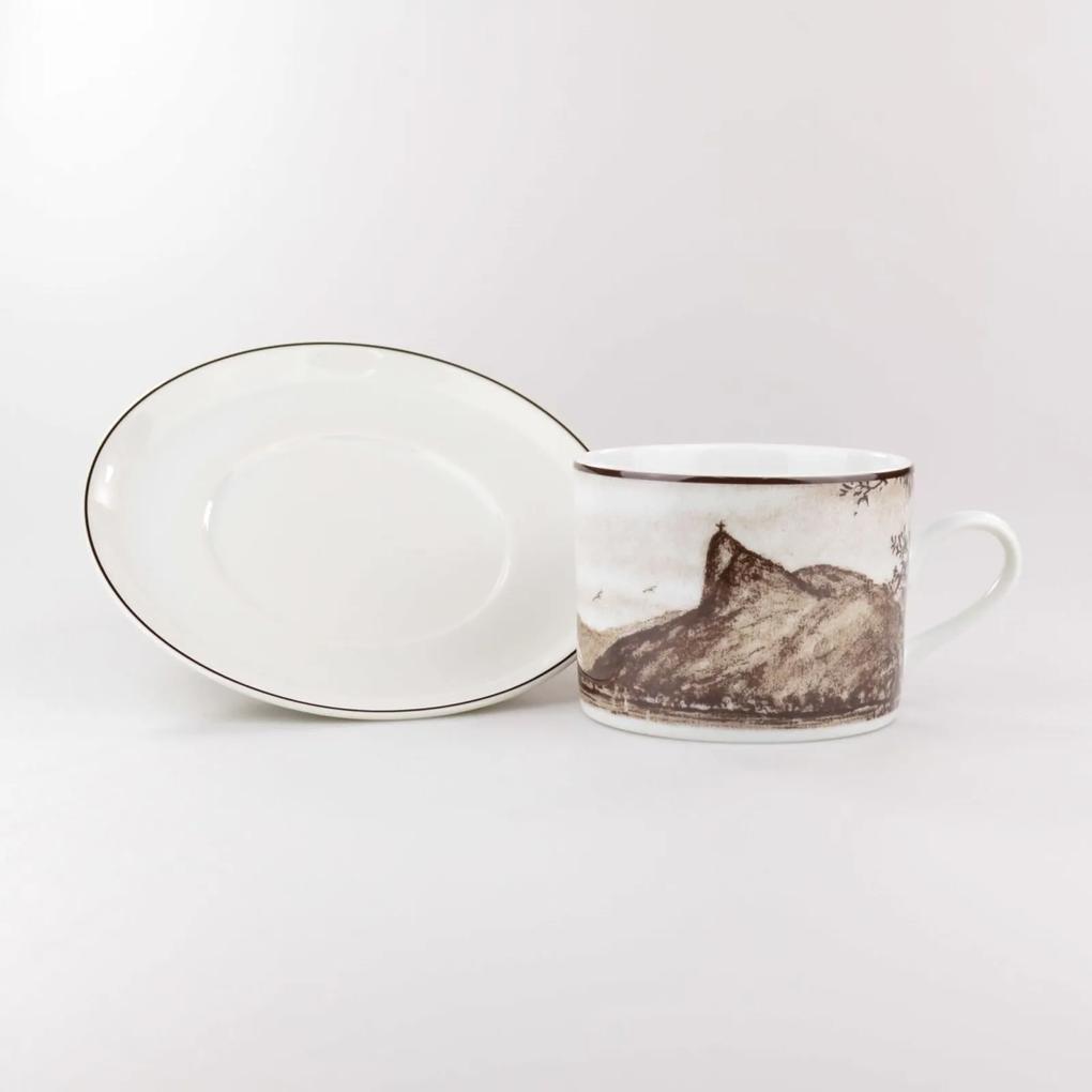 Xícara Chá Com Pires 200 ml Porcelana Schmidt - Dec. Imagens do Brasil