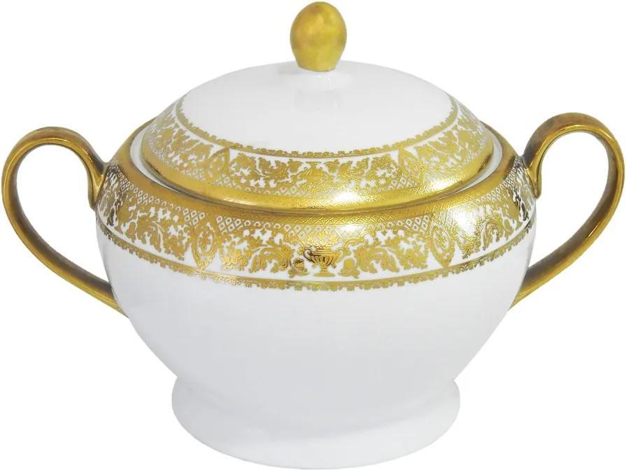 Aparelho de Jantar Véria com Bordas Decorativas Douradas - Jogo com 81 Peças