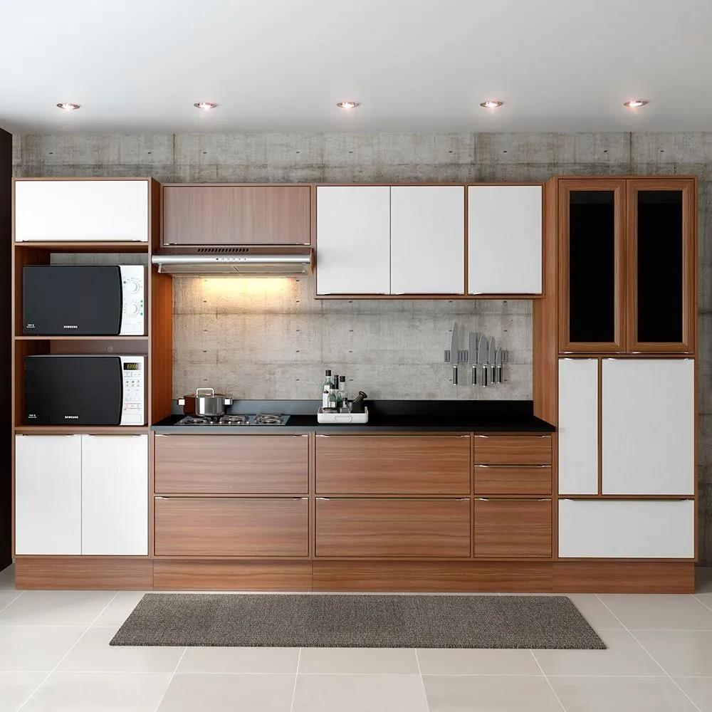 Cozinha Compacta 14 Portas 5 Gavetas 5450r Nogueira/Branco - Multimóveis