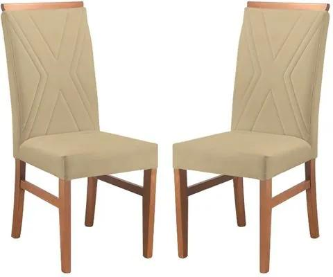 Kit 2 Cadeiras de Jantar Estofada Bege em Veludo Kloten