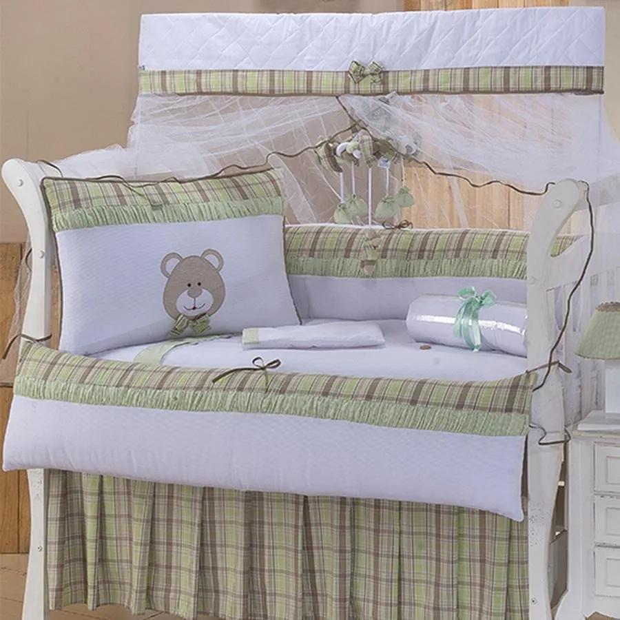 Kit Berço Urso Baby Verde 9 Peças