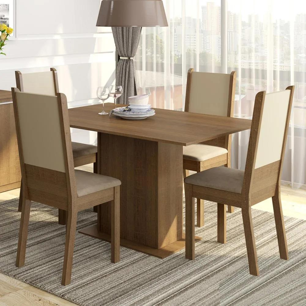 Conjunto Sala de Jantar Rita Madesa Mesa Tampo de Madeira com 4 Cadeiras Rustic/Crema/Pérola Cor:Rustic/Crema/Pérola