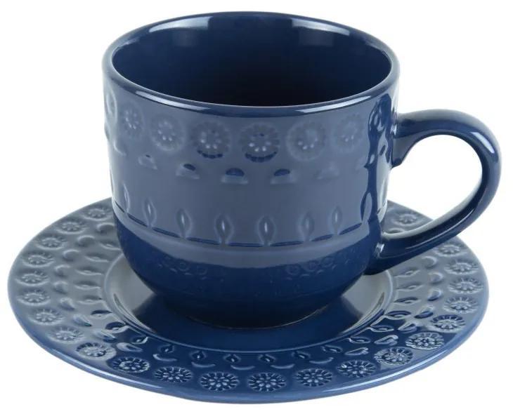 Jogo Xícaras Chá Porcelana Com Pires 4 Peças Grace Azul 250ml 17565 Wolff