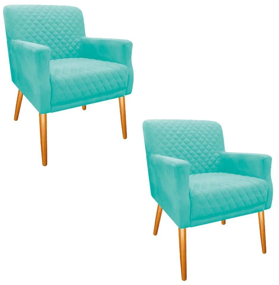 kit 02 Poltronas Juliana Palito Mel Suede Azul Tiffany - ADJ Decor