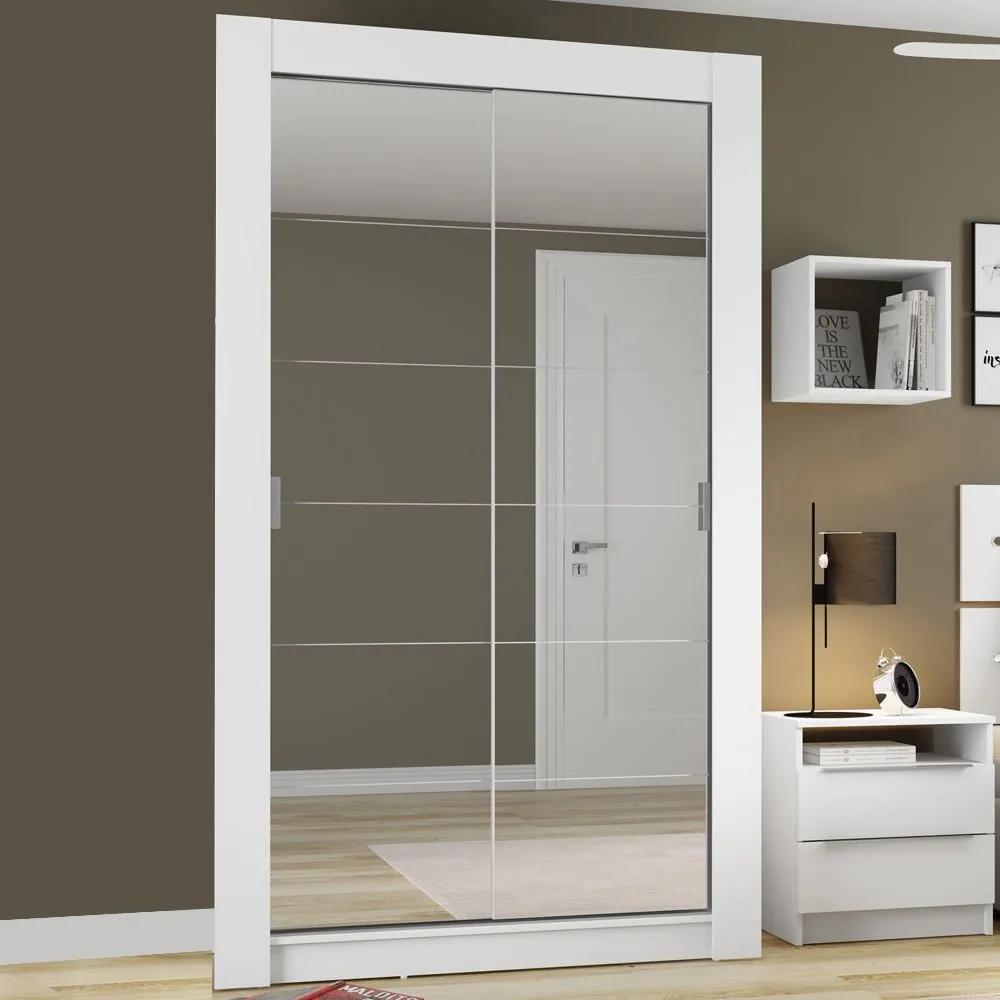 Guarda-roupa Solteiro 2 Portas de Correr C/ Espelho Aslan Plus Branco - Madesa