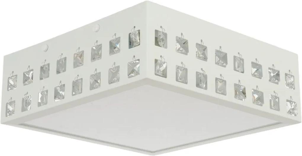 Plafon Sobrepor Quadrado Aluminio Cristal 28x28cm