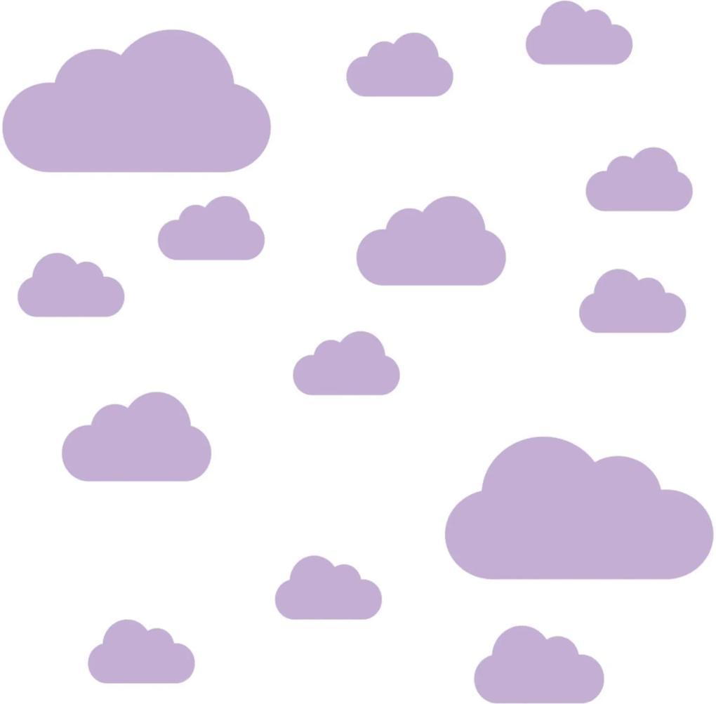 Adesivo de Parede Nuvens Lilás para Quarto Infantil